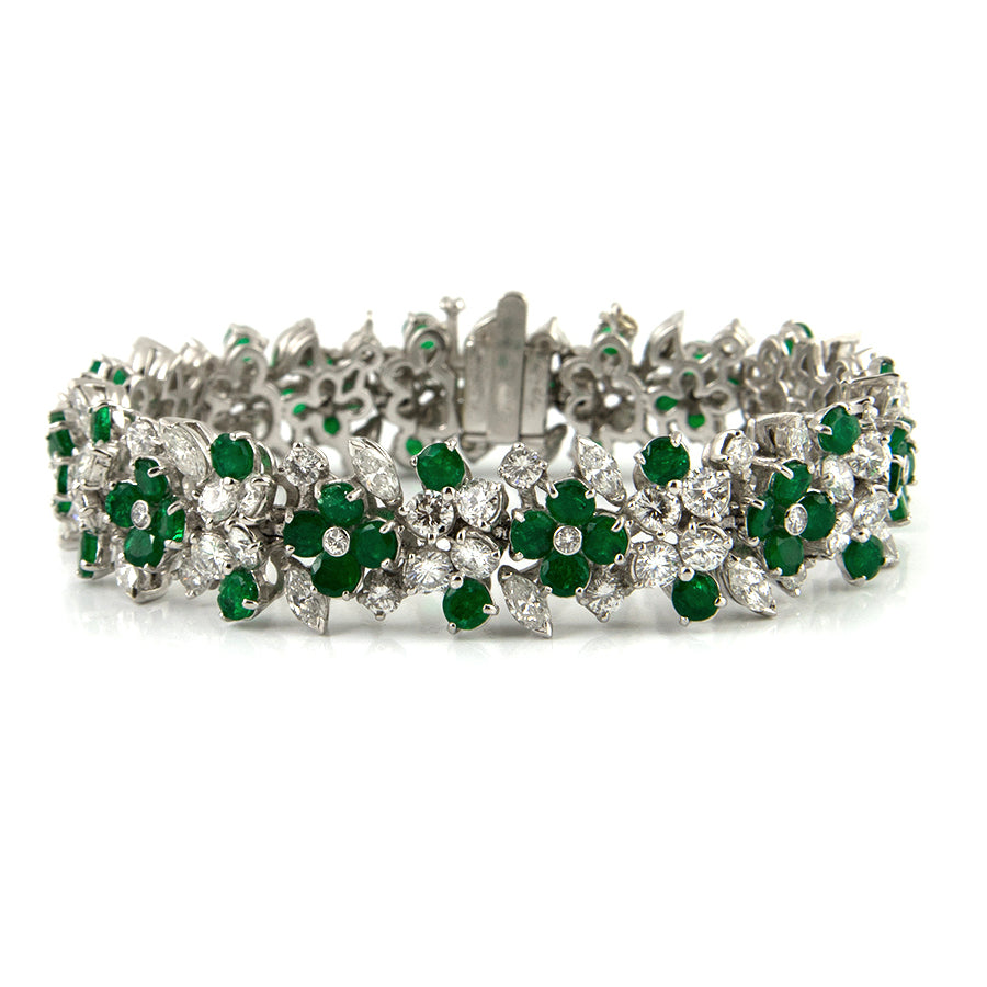 Estate Emerald and Diamond Bracelet  - Estate jeweller Montreal