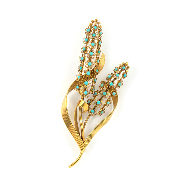 Retro Turquoise Bullrush Brooch in 18k Yellow Gold - Westmount Montreal jewellers