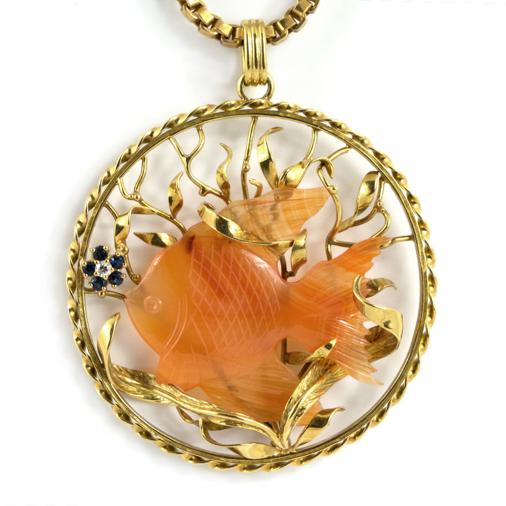Red Agate/Carnelian 18K Yellow Gold Pendant - Westmount, Montreal, Quebec - Daisy Exclusive