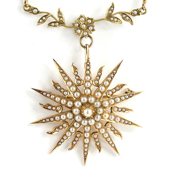 Victorian Seed Pearl Sunburst Pendant Necklace 14K - Westmount, Montreal, Quebec - Daisy Exclusive