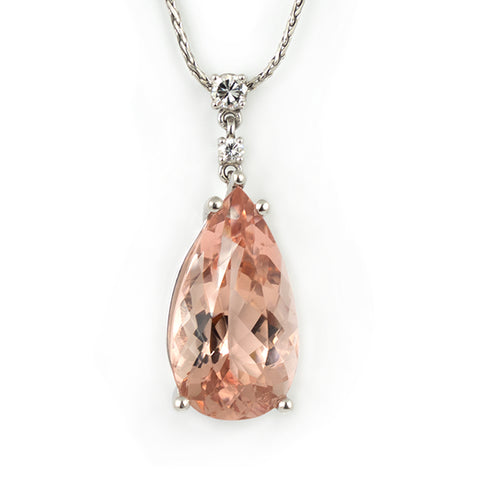 Morganite Drop & Diamond Pendant in 18k White Gold - Westmount Montreal Jewellers