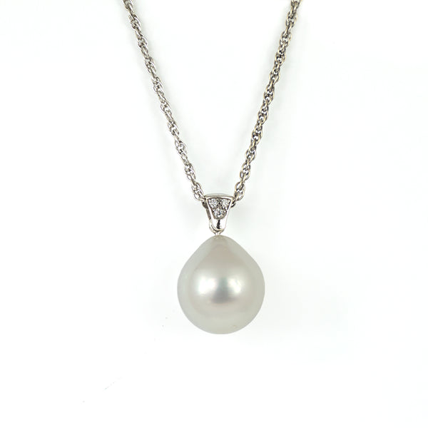 South Sea Pearl Drop & Diamond Bail Pendant - Westmount Montreal Jewellers