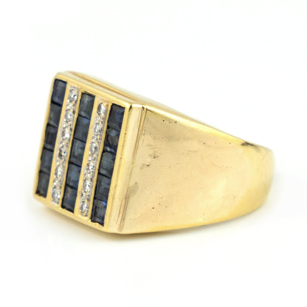 Vintage Men's Style Sapphire & Diamond Ring in 18k Yellow Gold - Daisy Exclusive Estate Jewellers Montreal