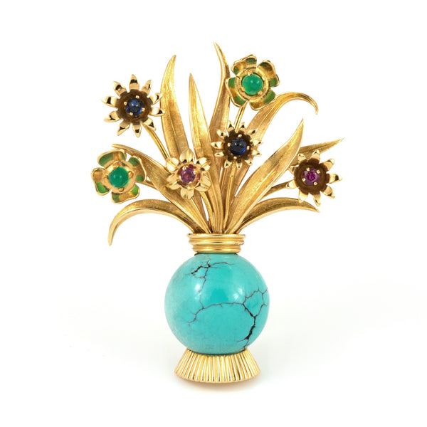 ebf47f5d3 Gold Turquoise Bouquet Brooch with Ruby, Sapphire and Chrysoprase - Estate  Jewellers Montreal