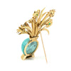 Gold Turquoise Bouquet Brooch with Ruby, Sapphire and Chrysoprase - Estate Jewellers Montreal