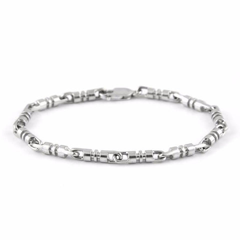Solid 18k White Gold Link Bracelet - Daisy Exclusive Estate Jewellers Montreal