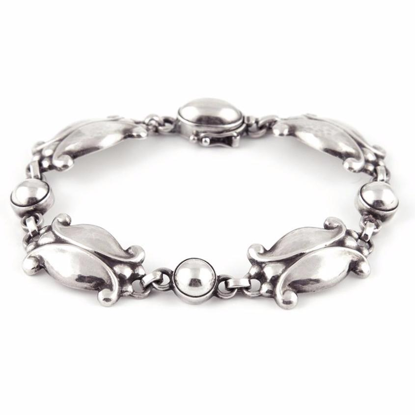 Georg Jensen #11 Moonlight Blossom Sterling Silver Bracelet C.1945- Daisy Exclusive Estate Jewellers Montreal