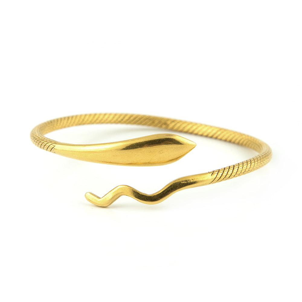 Retro Snake Bangle in 21k Yellow Gold - Montreal Estate Jewellers