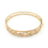 Vintage Diamond and Seed Pearl Hinged Bangle Bracelet 14k - Montreal Estate Jewellers