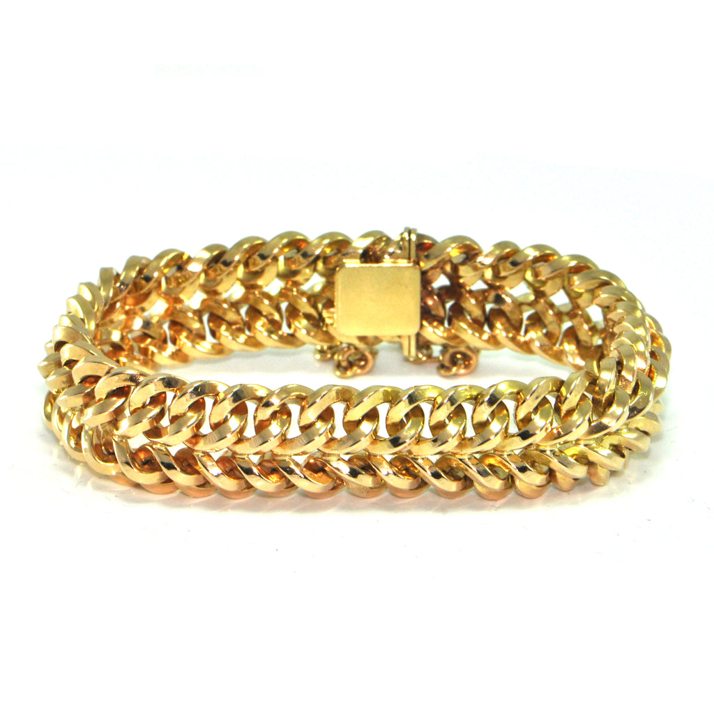 Vintage 18K Solid Yellow Gold Woven Link Bracelet + Montreal Estate Jewelers