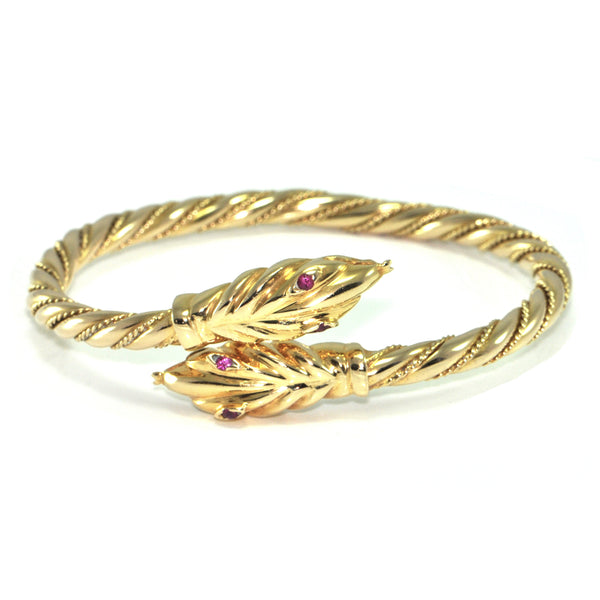 Vintage 18K Yellow Gold Twisted Snake Bangle + Montreal Estate Jewelers