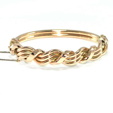 Vintage English 9Kk Rose Gold Woven Wave Bangle Bracelet + Montreal Estate Jewelers