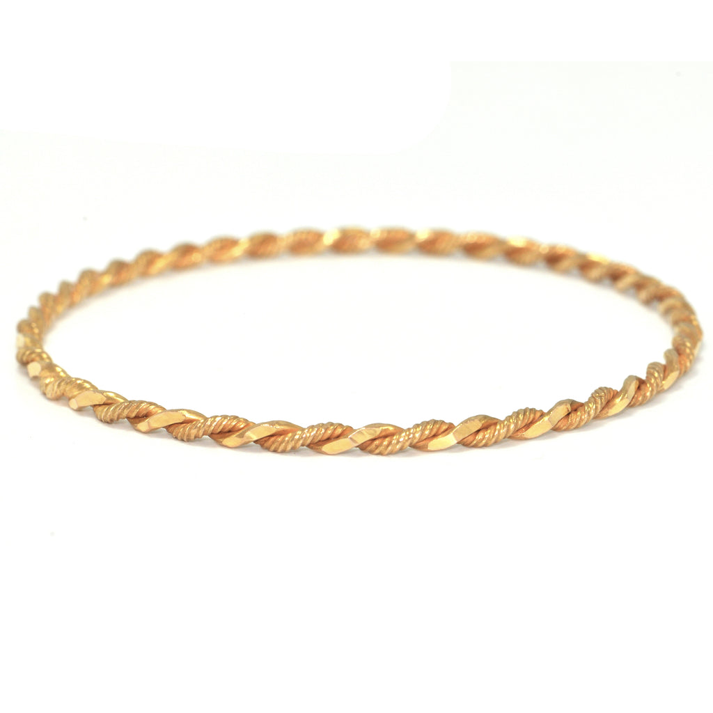 Vintage 18K Yellow Gold Twisted Cable Bangle + Montreal Estate Jewelers