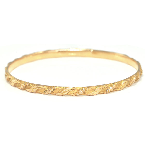 Vintage 22K Yellow Gold Bangle with Textured Design + Montreal Estate Jewelers