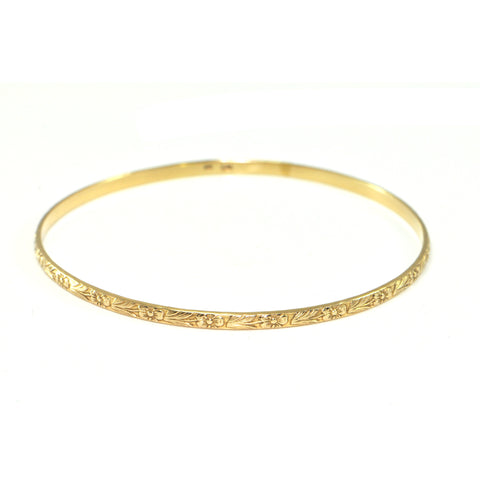 Vintage 14K Yellow Gold Bangle Bracelet with Flower and Leaf Design + Montreal Estate Jewelers