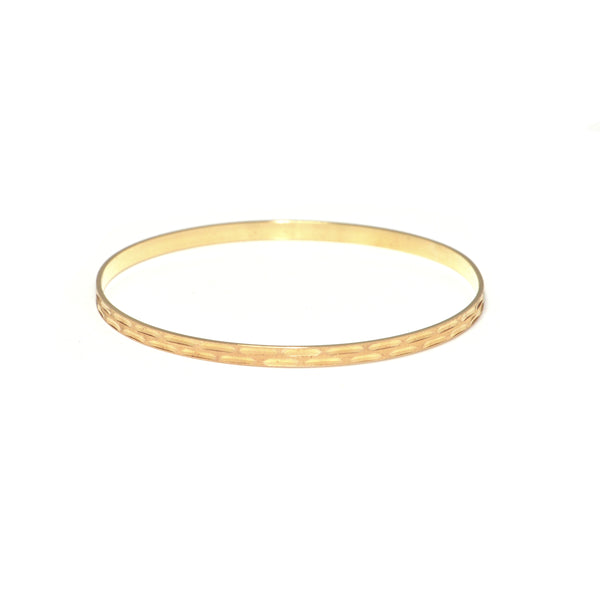 Vintage Italian 18K Yellow Gold Bangle with Rectangular Engraving + Montreal Estate Jewelers