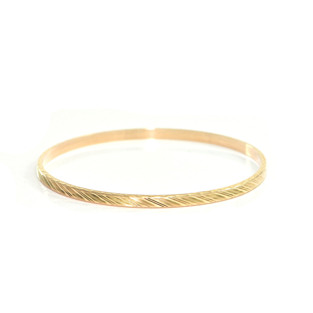 1950's Solid 21K Yellow Gold Bangle with Leaf and Grape Design + Montreal Estate Jewelers