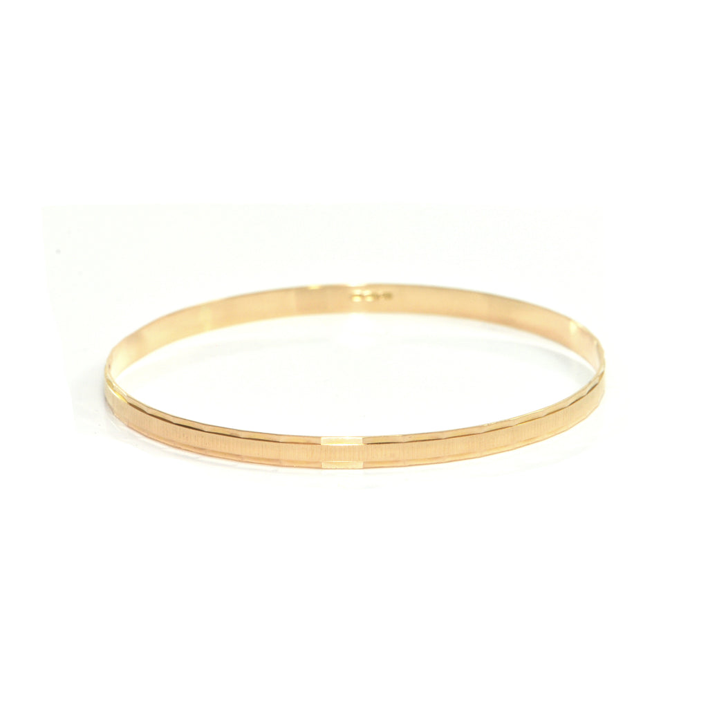 Vintage Italian 18K Yellow Gold Bangle with Rectangular Etching + Montreal Estate Jewelers