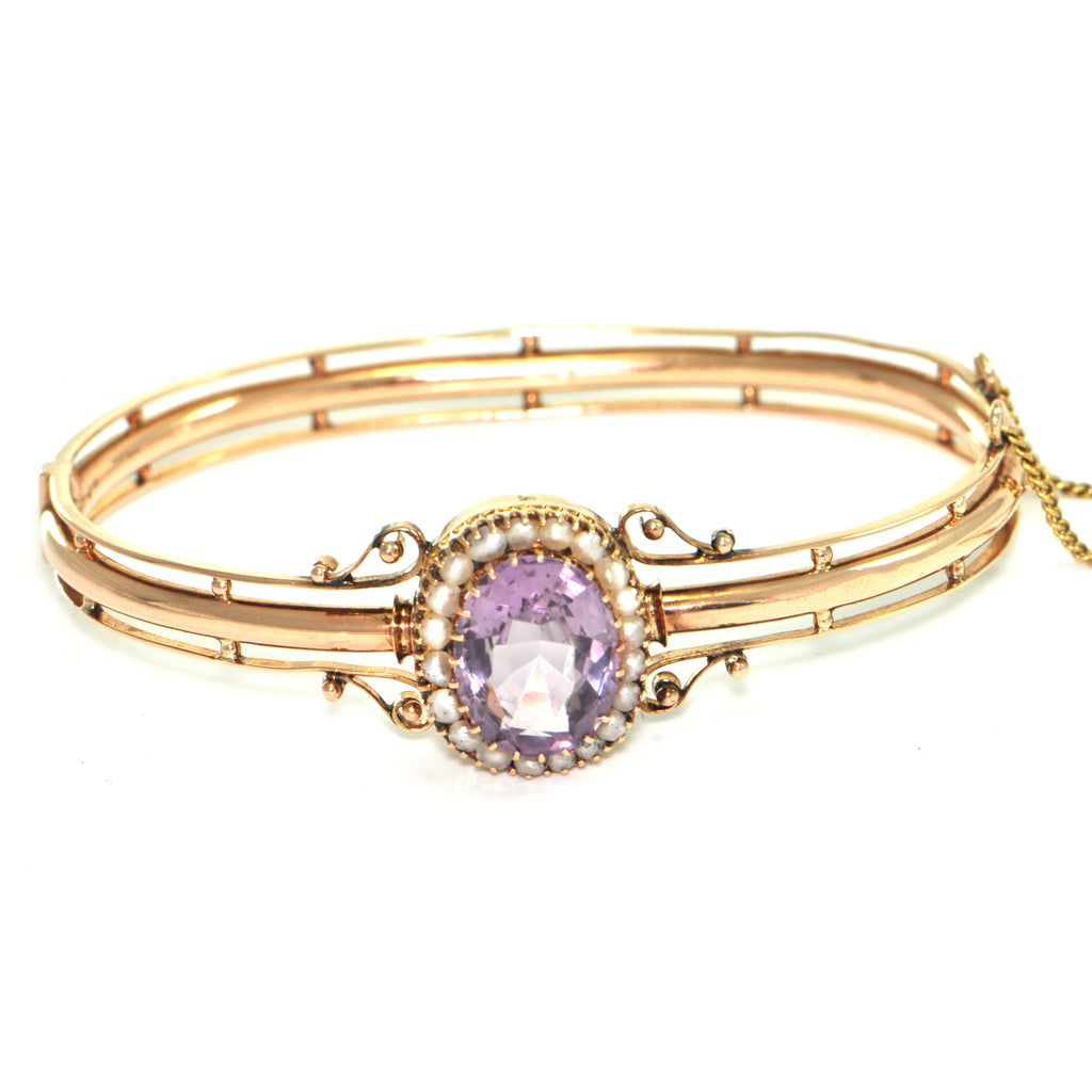 Vintage Russian 14K Rose Gold Bracelet with Amethyst and Seed Pearls + Montreal Estate Jewelers