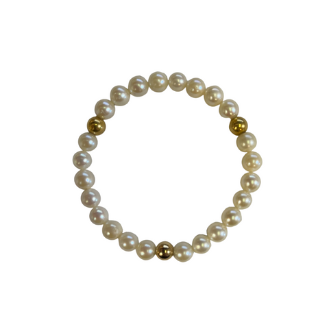 Daisy Exclusive Pearl and 18K Yellow Gold Ball Bracelet + Montreal Estate Jewelers