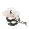 Vintage Diamond, Rose Quartz and Nephrite Jade 14K White Gold Flower Brooch + Montreal Estate Jewelers