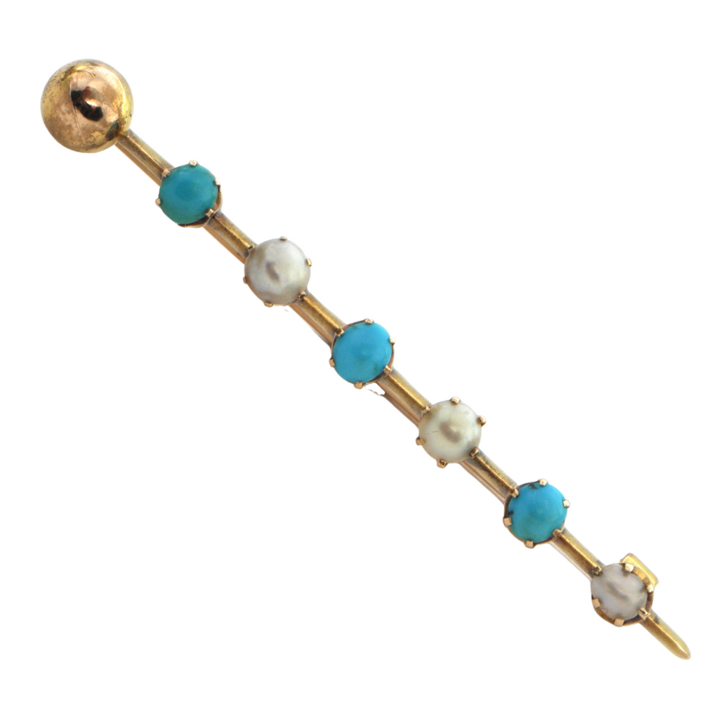 Antique Russian Pearl and Turquoise 14K Yellow Gold Bar Brooch + Montreal Estate Jewelers