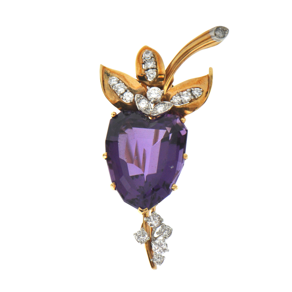 Vintage 18K Yellow Gold and Platinum 27.8CT Amethyst and Diamond Floral Brooch