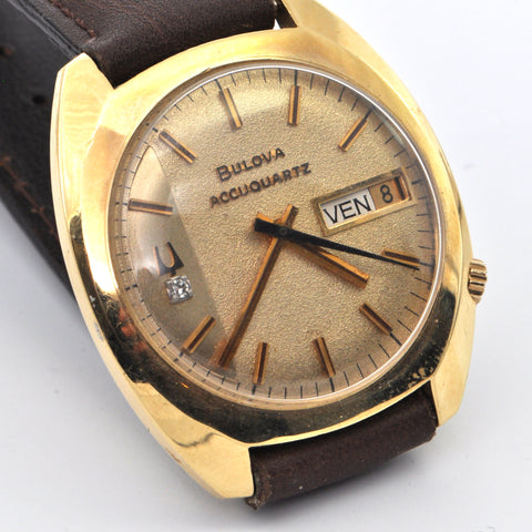 14K BULOVA Diamond Face With Brown Leather Strap - Westmount, Montreal, Quebec