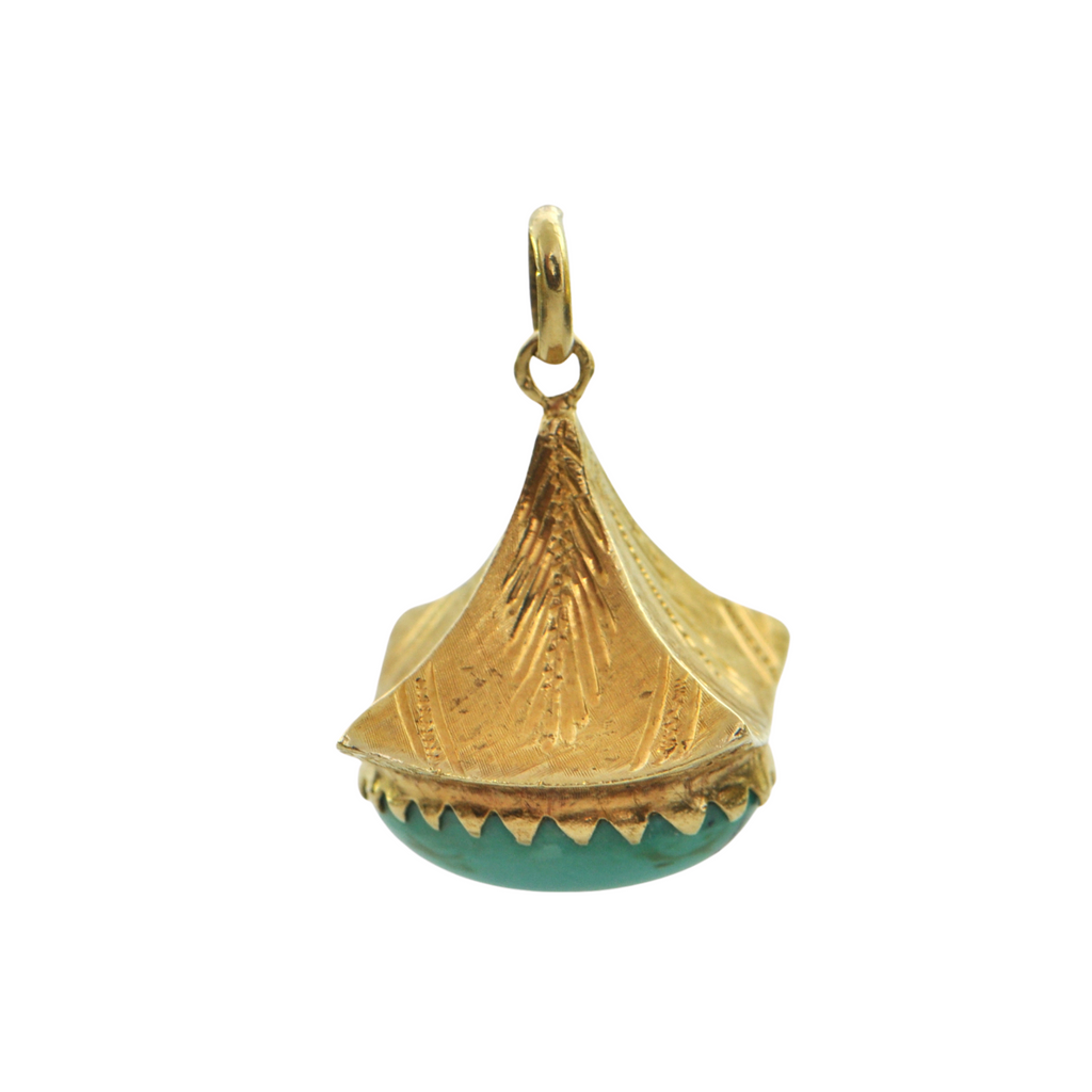 Vintage retro Turquoise 18K Yellow Gold Lantern Charm + Montreal Estate Jewelers