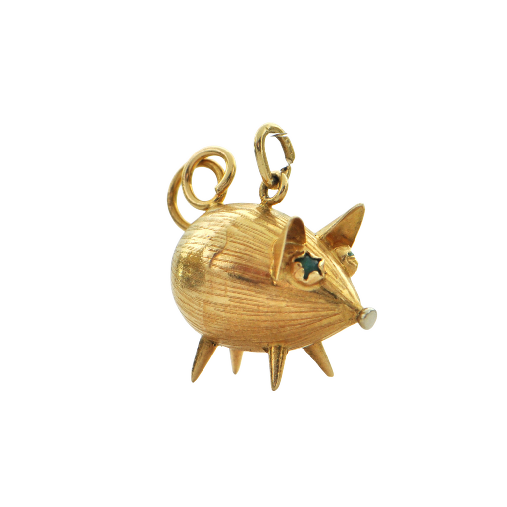 Vintage 18K Yellow Gold Pig Charm + Montreal Estate Jewelers