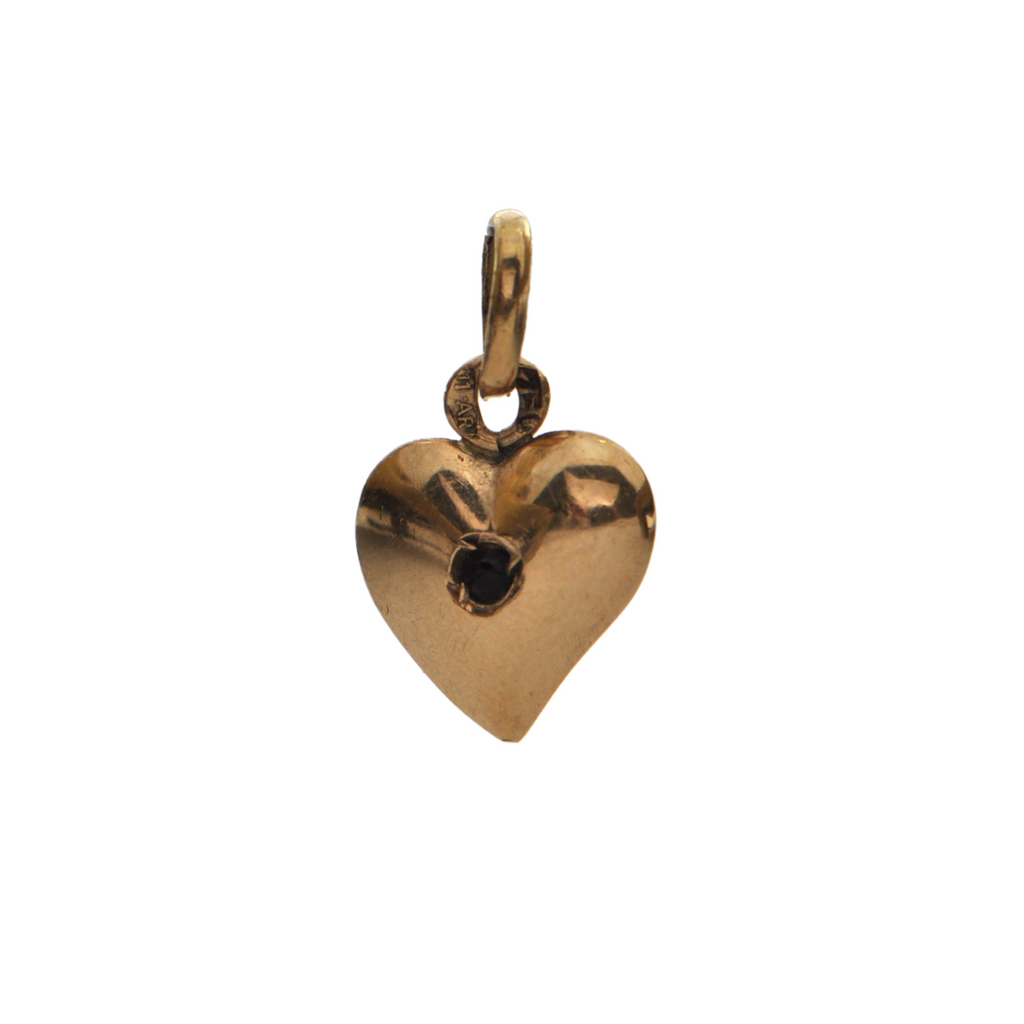 Vintage Italian 18K Yellow Gold Heart Charm