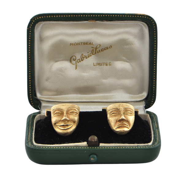 Vintage 18K Yellow Gold Comedy And Tragedy Mask Cufflinks C.1950 + Montreal Estate Jewelers