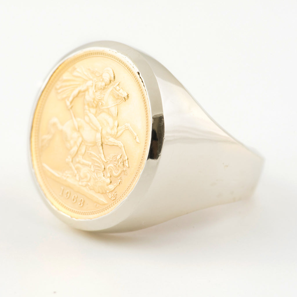 sovereign ring in gold mount pin rings set