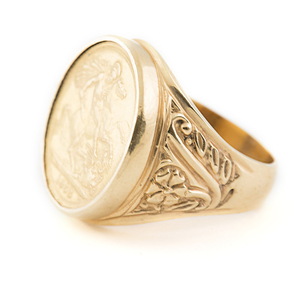 sides half rings product jewellery yellow gold celtic sovereign ring