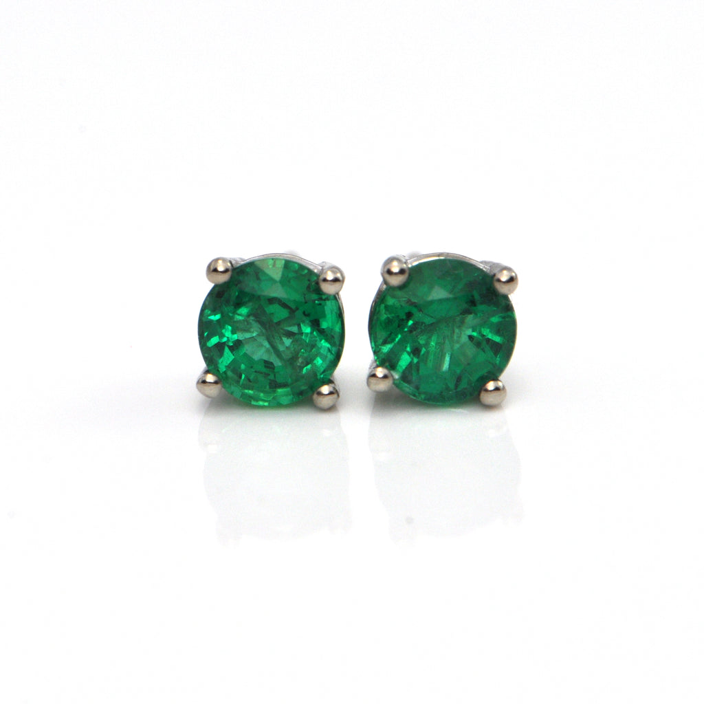 1.07 CT Round Faceted Zambian Emerald Stud Earrings + Montreal Estate Jewelers