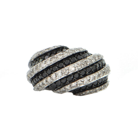 2.66CT  Black and White Pavé Diamond 18K White Gold Ring + Montreal Estate Jewelers