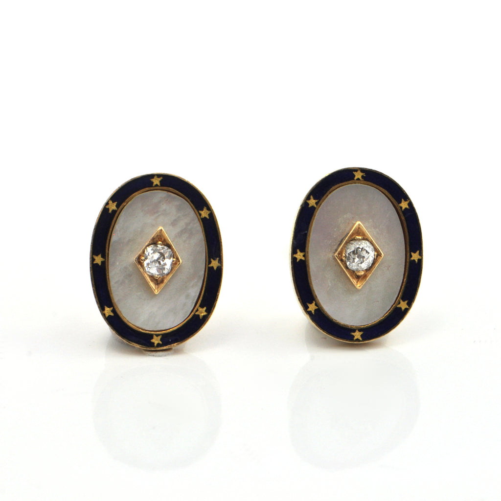18K Yellow Gold Antique Mother of Pearl, Enamel & Diamond Cufflinks + Montreal Estate Jewelers