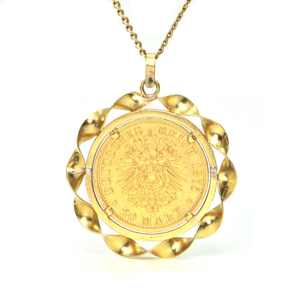 21K Yellow Gold 20 Mark Coin with 18K Bezel Pendant (1857) + Montreal Estate Jeweler