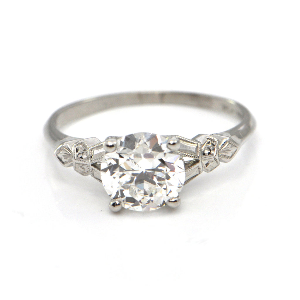 1.47 CT Art Deco Diamond Ring C.1930 - GIA Certified + Montreal Estate Jewelers
