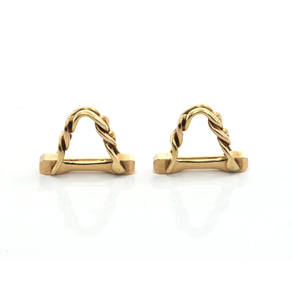 French 18K Chain Link Cufflinks + Montreal Estate Jewelers