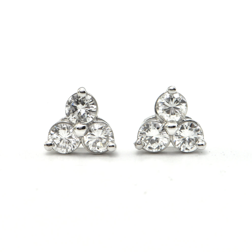 1.01CT Three Diamond 18K White Gold Stud Earrings + Montreal Estate Jewelers