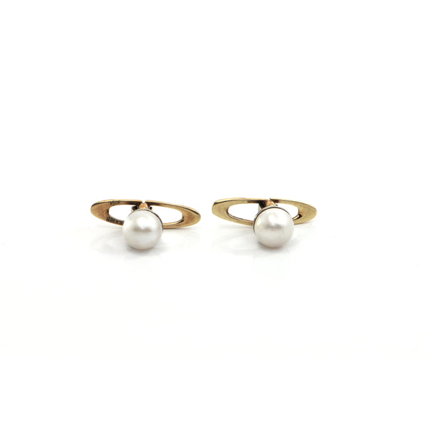 Vintage Birks Japanese Cultured Pearl Stud Cufflinks in 14k Yellow GoldVintage Birks Japanese Cultured Pearl Stud Cufflinks in 14k Yellow Gold + Montreal Estate Jewelers