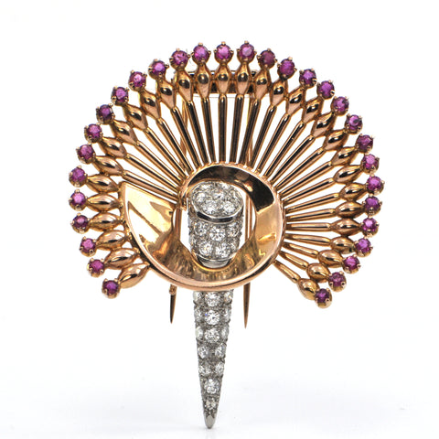 Retro 18K Yellow Gold and Platinum Diamond and Ruby Peacock Brooch C.1940 + Montreal Estate Jewelers