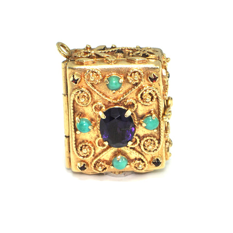 Vintage 14K Yellow Gold Book Charm + Montreal Estate Jewelers