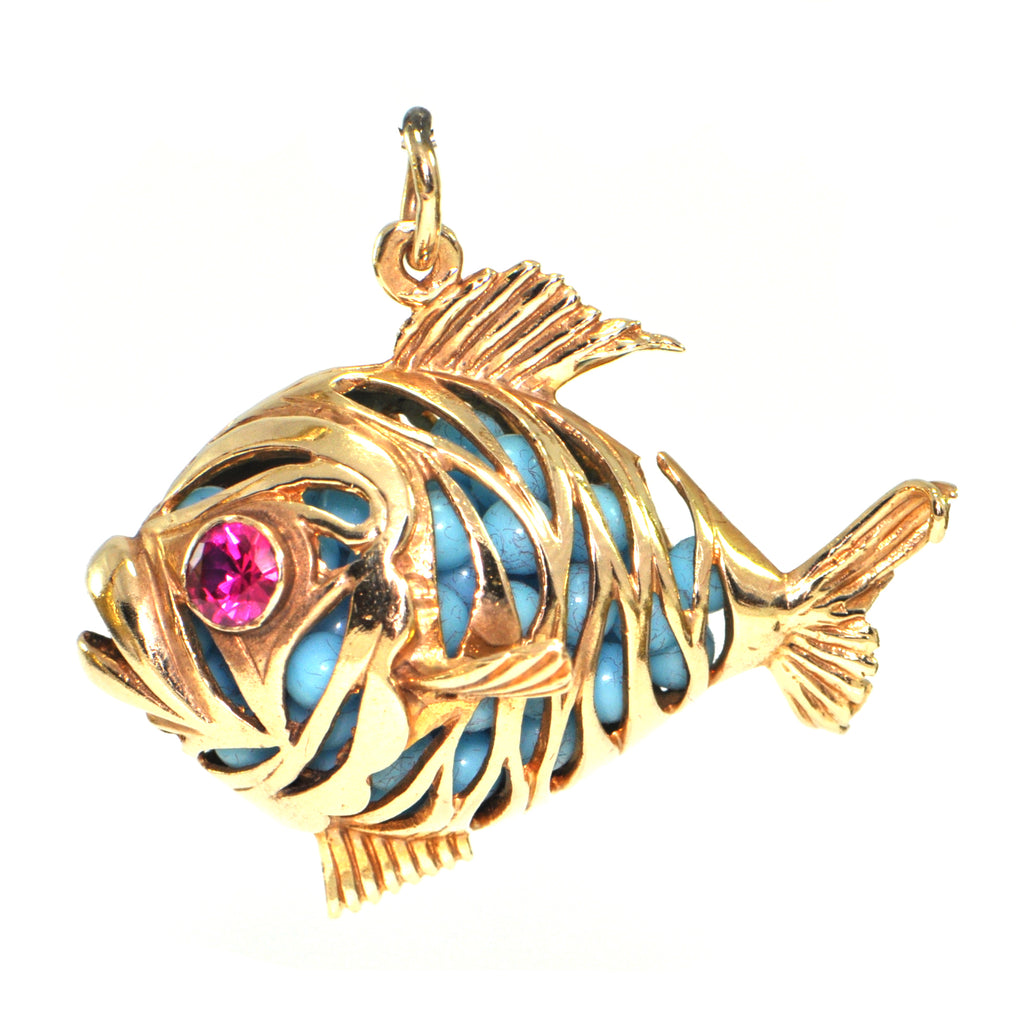 Vintage 14K Yellow Gold Fish Charm + Montreal Estate Jewelers