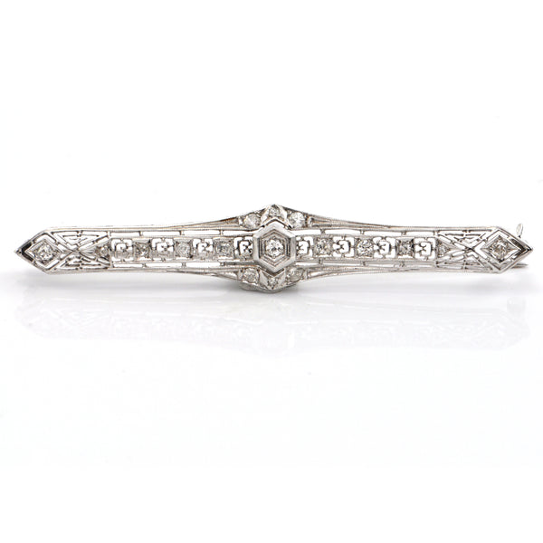 Edwardian 18K White Gold and 0.51CT Diamond Bar Brooch C. 1915 + Montreal Estate Jewelers