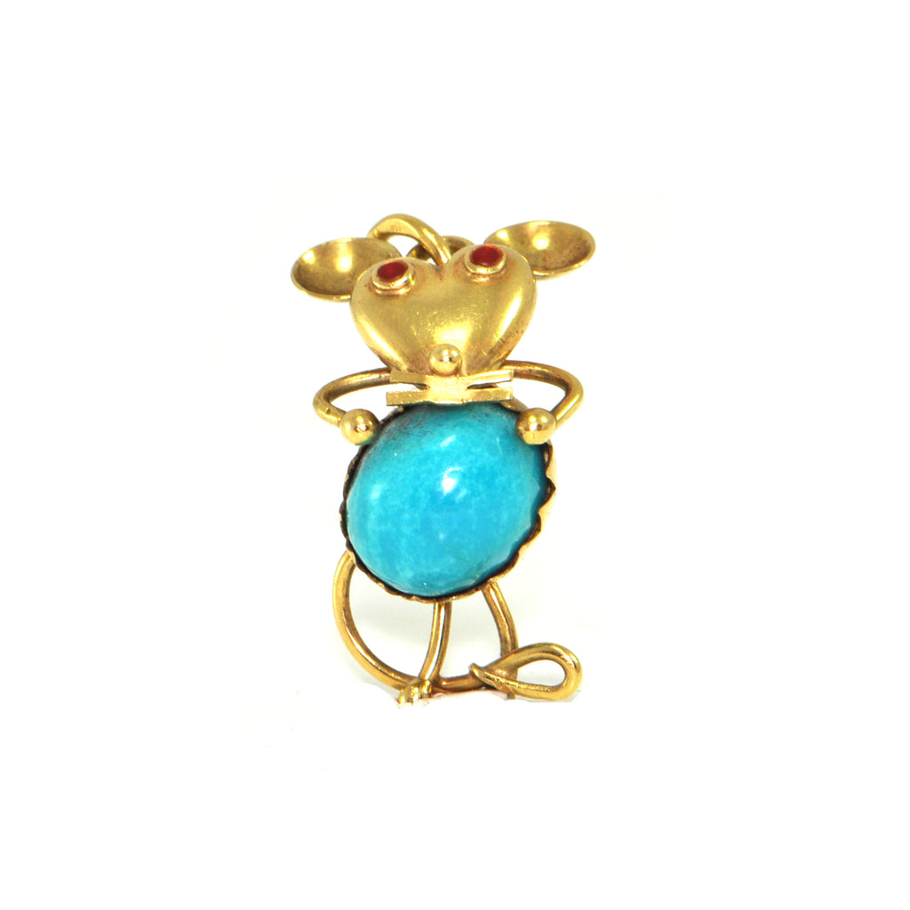 Vintage 18K Yellow Gold Mouse Charm + Montreal Estate Jewelers