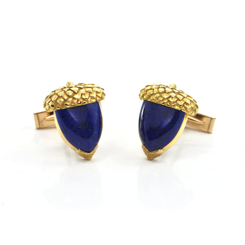 Vintage 14K Yellow Gold Lapis Lazuli Acorn Cufflinks + Montreal Estate Jewelers