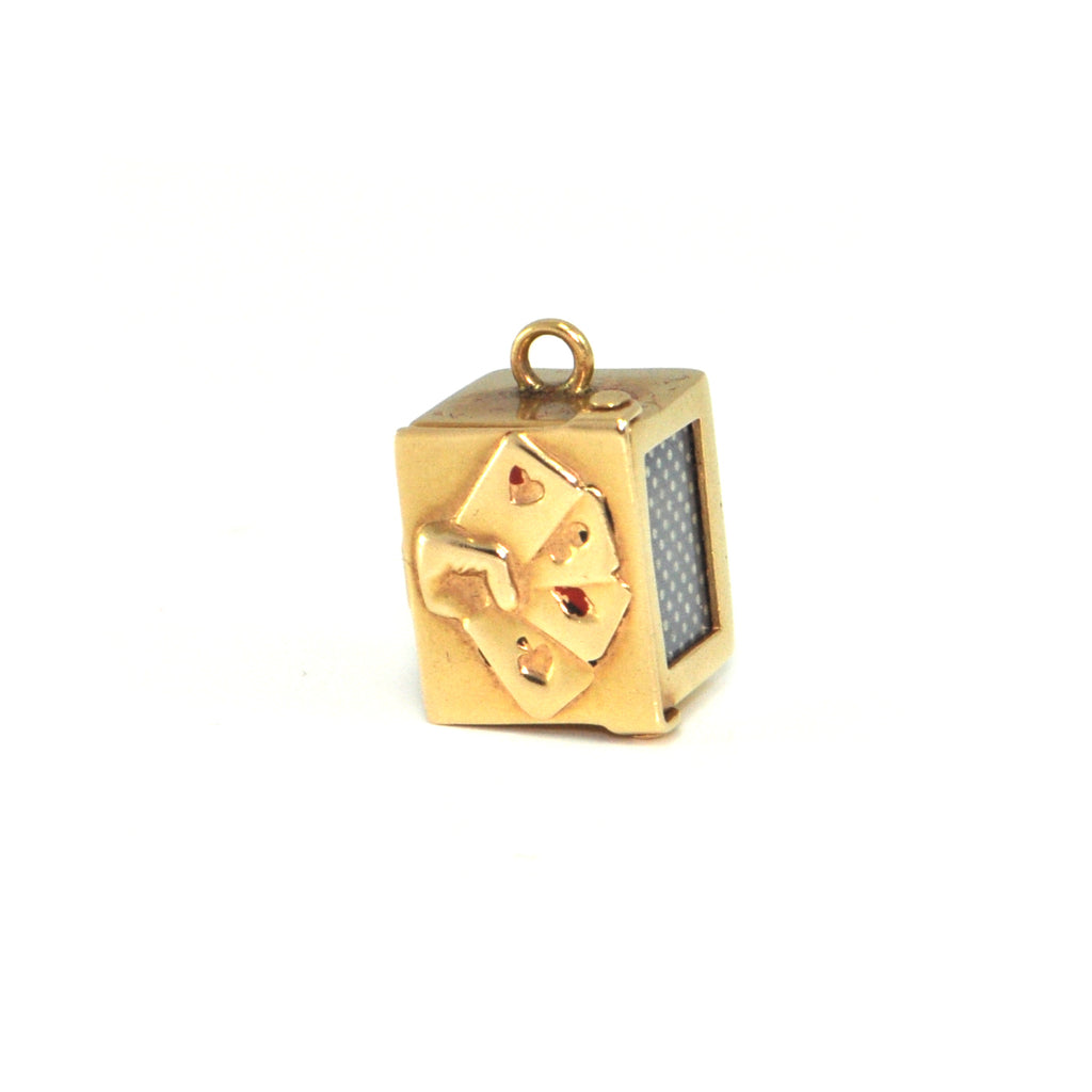 Vintage 14K Yellow Gold Playing Card Box Charm + Montreal Estate Jewelers
