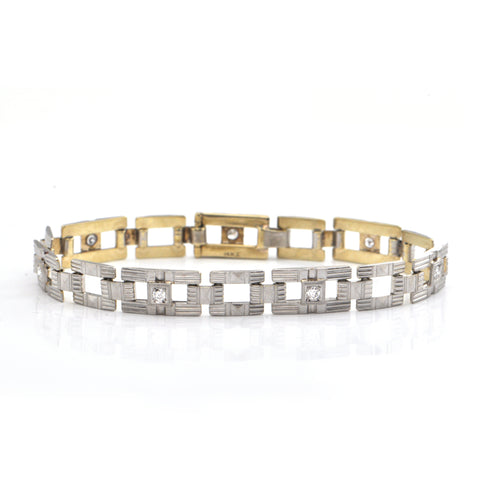 Art Deco 0.35CT Diamond and 14K White and Yellow Gold Bracelet + Montreal Estate Jewelers